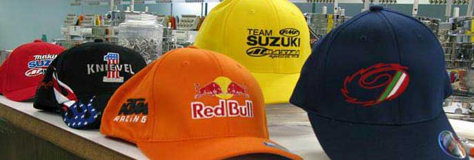 Embroidered Hats featuring Red Bull, Suzuki, & Knievel Designs