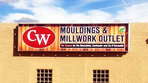 CW Mouldings & Millwork Outlet Building Sign